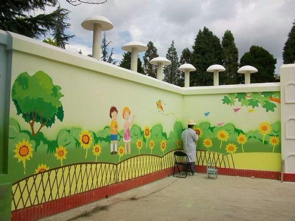 萍乡幼儿园墙体绘画,萍乡古建筑手绘,萍乡手绘古建筑